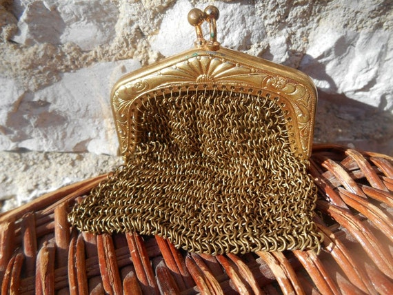 Victorian Gold Chatelaine Mesh Purse 1920's French Change Purse Gold Plated #sophieladydeparis