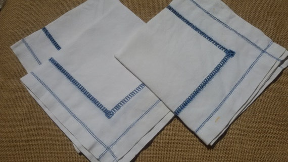 3 Napkins Victorian White Linen Blue Ladder Work French Handmade Kitchen Towel Dish Wrap Blue Seam #sophieladydeparis