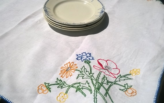 Vintage White French HEMP Tablecloth Mid Century Floral Hand Embroidered Tea Tablecloth #SophieLadyDeParis