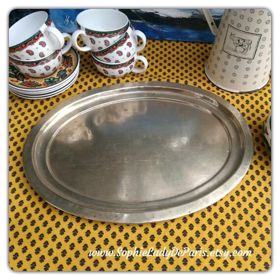 1930's Tray Oval Brass Serving Tray French Handmade #sophieladydeparis