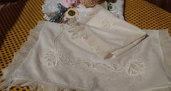 1880's French Baby Bedspread Pillow Case set Victorian Coverlet Handmade Cotton & Tulle Cover Floral Hand Embroidered #sophieladydeparis