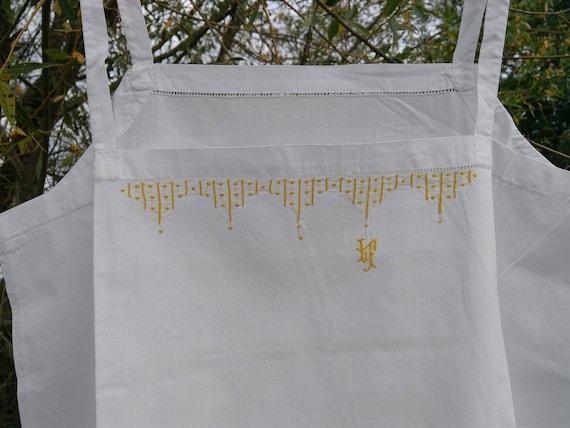 1930's Deco French White Cotton Slip Unworn Handmade Lingerie Yellow Monogram and Hand Embroidered Medium Large Size #sophieladydeparis