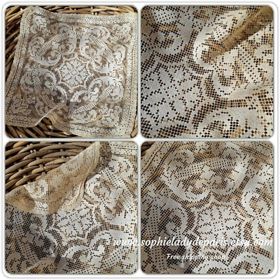 Antique Needle Lace Doily Delicate French Needlework 1900's Cotton Filet Table Center  #sophieladydeparis