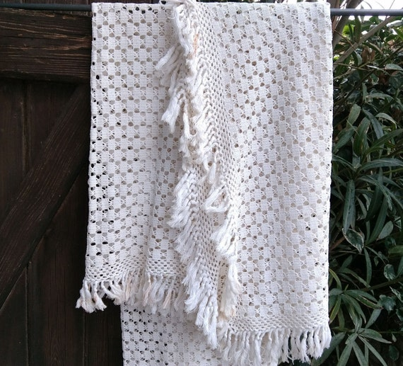 Antique French Blanket Fringed Hand Crocheted White Cotton Cover #sophieladydeparis