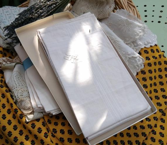 5 Large Handkerchiefs  Unused Mid-century White Linen Men's Monogrammed French Tissue Pocket Square #sophieladydeparis
