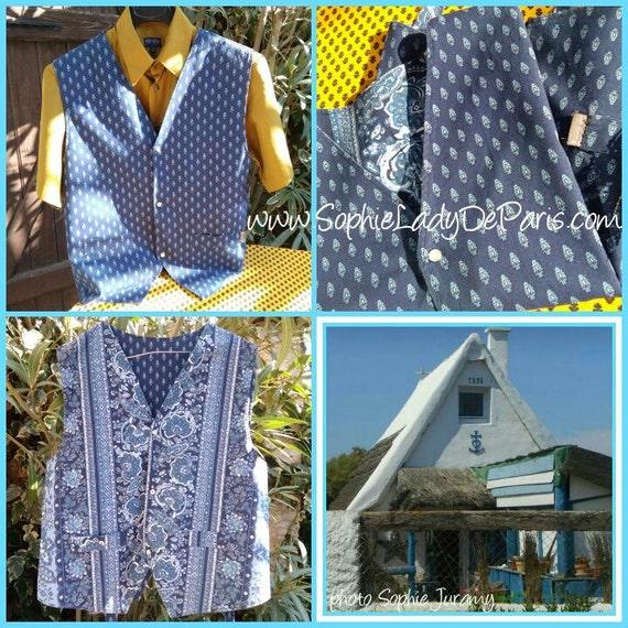 Vintage Vest Blue Provence Men Vest Cotton Made Reversible Cow Boy Vest Snap Fastener Buttons Medium  #sophieladydeparis