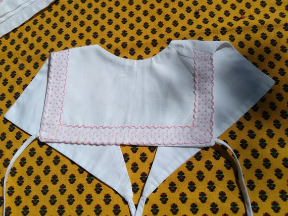 Vintage Bib White Baby Linen Pink Ribbon Trim French Cotton Lined Baby Accessory #sophieladydeparis
