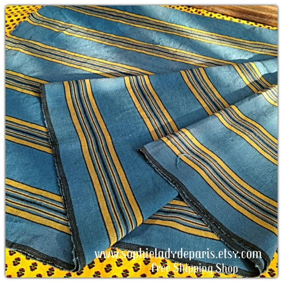 1930's Upholstery Fabric Blue with Yellow Stripes Ribbed Cotton Unused French Home Decor Linen Sewing Project NOS #sophieladydeparis