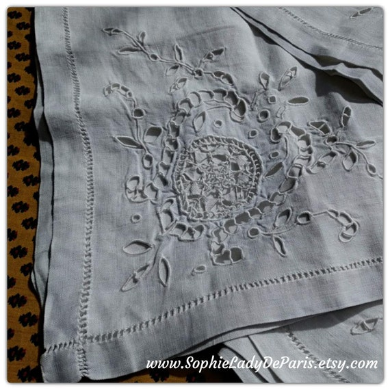 White Linen Tea Tablecloth Antique Handmade Hand Embroidered Linen Cut Outs Ladder Work Guipure Lace #sophieladydeparis
