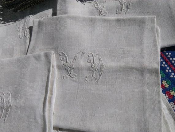19th Napkins Large Damask Set of 7 Victorian White Linens French Handmade Double Monogram #SophieLadyDeParis