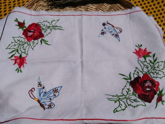 Vintage Doily French White Cotton Rectangle  Red Roses Blue Butterflies Hand Embroidered Table Center #sophieladydeparis