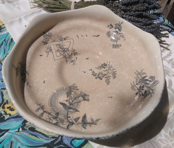Art Nouveau Porcelain Pedestal Fruit Bowl Grand Depot Blue Floral Monochrom Masonic Ceramic Choisy Le Roi E.Bourgeois #sophieladydeparis