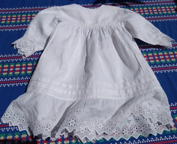 Vintage French Christening Gown Romantic Baby Dress White Fleece Damask Cotton Eyelet Lace Trim Long Sleeve Doll Costume #sophieladydeparis