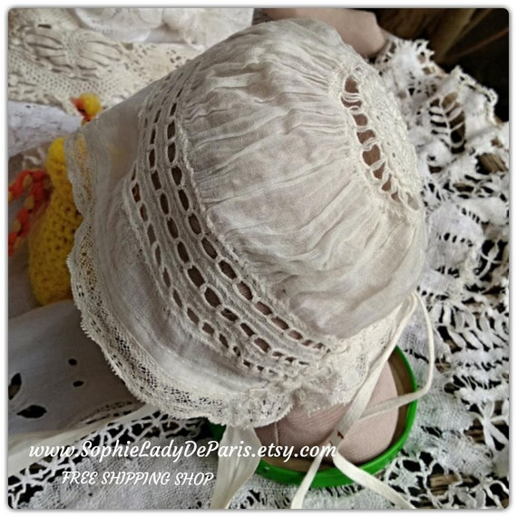 Victorian Doll Bonnet White Cotton Lace Antique French Doll Hat #sophieladydeparis
