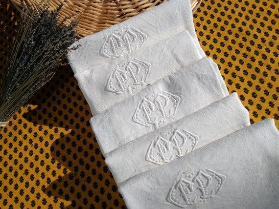 Antique White French Damask Napkins Set of 5 with Double Monogram #SophieLadyDeParis
