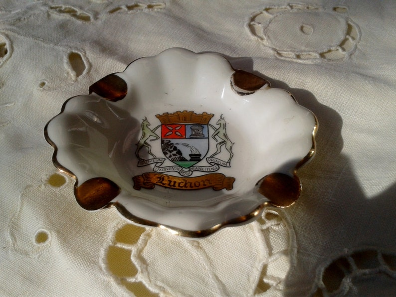 1930/'s Porcelain Ashtray Gerold Bavaria Hand Painted WWII Era Souvenir from Luchon Crowned Blazon Chamois Latin Scripture #sophieladydeparis