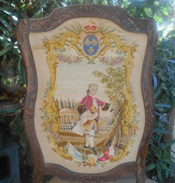 Tapestry Fire Screen Louis XVI  Petit Point Fleur de Lys Walnut Frame Louis XV Style Bourbon Blazon #sophieladydeparis