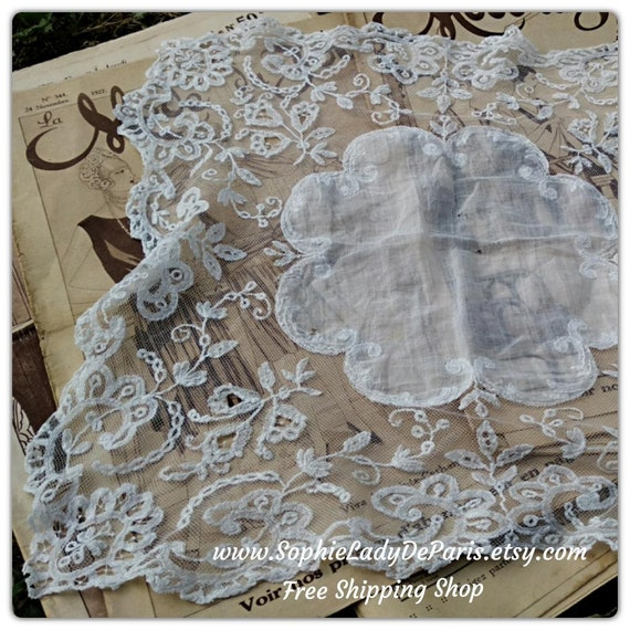Large Handkerchief  19th French Bride Tissue Handmade White Tulle Cotton Hand Embroidered #sophieladydeparis