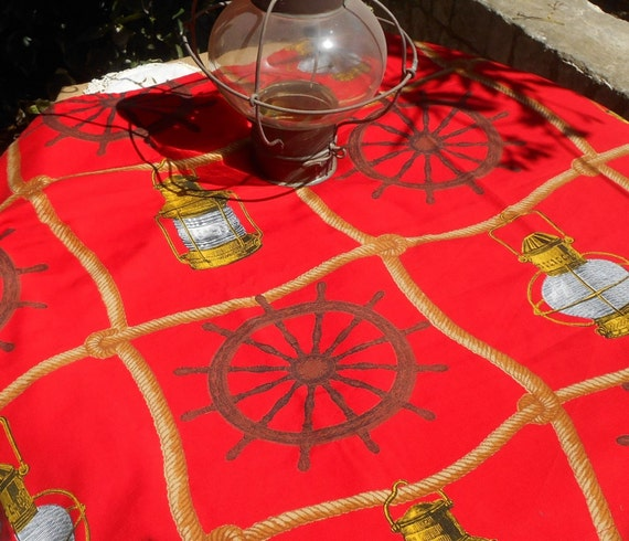 60's Red Nautical Tablecloth French Boussac Designer Art Print Cap Horn by Laurent Stève Home Decor Fabric Curtain Pillow #sophieladydeparis