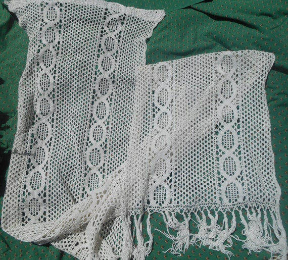 Long Filet Curtain 1900's Victorian French Hand Crocheted White Cotton Fringes Trimmed #sophieladydeparis