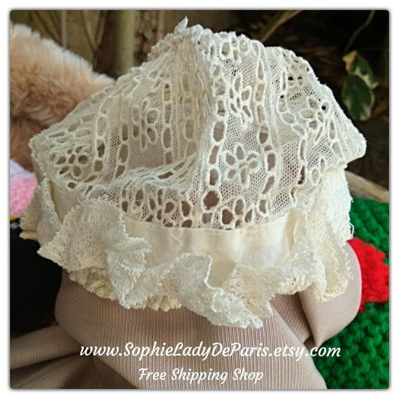 Victorian Baby Bonnet White Tulle Lace Antique French Baby Hat or Doll Hat #sophieladydeparis