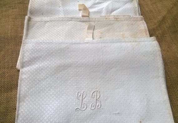 3 Unused Dish Cloth White Victorian Silk Damask Kitchen Towels Monogram Linen Original Condition #sophieladydeparis