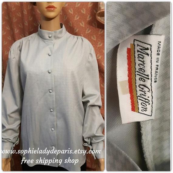 Vintage Gray Blouse Houndstooth Motif Marcelle Griffon Shirt Large #sophieladydeparis