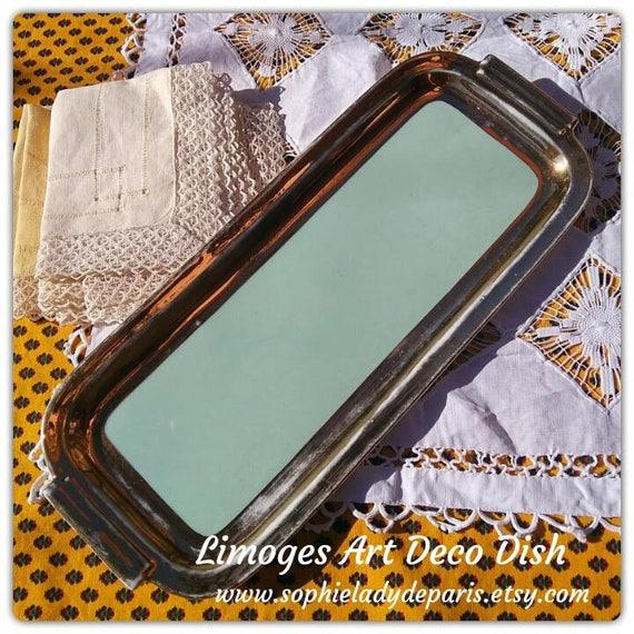Art Deco Porcelain Dish Gilded Pastel Green French Limoges Decor Handled #sophieladydeparis