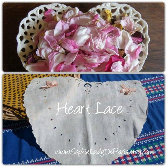 Antique Heart Eyelet Lace Doily or Pillow Cover Applique Pink Bow Ribbon White French Cotton Embroidered Sewing Project #sophieladydeparis