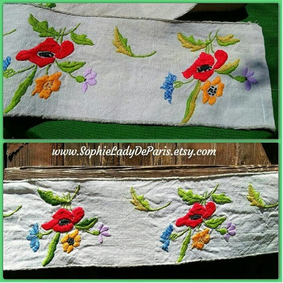 Shelf Edging Mid-Century French Gray Linen Home Decor Linen Flowers Hand Embroidered #sophieladydeparis