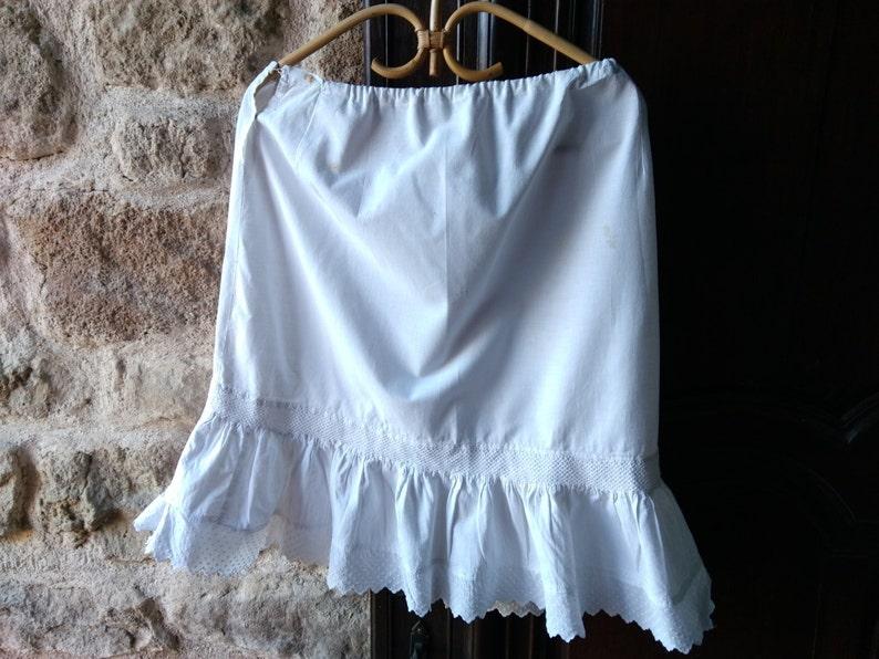 7d0999ac85e Mid-Century Petticoat Ruffled White French cotton Half Slip