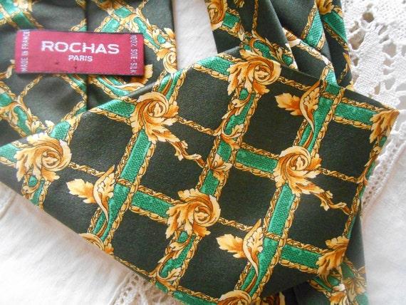 IVY Necktie ROCHAS PARIS Green Silk Men's Tie Gold Ivy Design French High Fashion Hand Made in France #sophieladydeparis