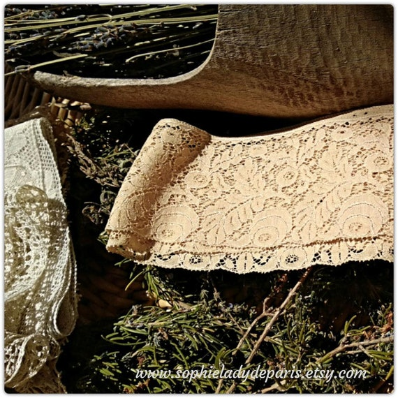 Antique French Beige Lace Floral Cotton French Unused Sewing Project Collectible #sophieladydeparis