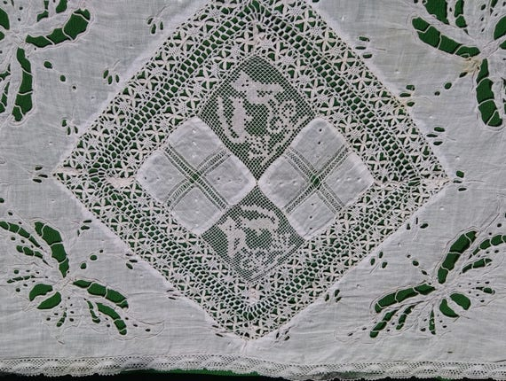 19th Century French Lace Runner Butterfly Cut Work Hand Embroidered Needle Lace Owl Squirrel Ivy Leaf Lace Trim #sophieladydeparis