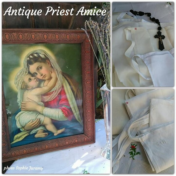 Antique 1930's French Amice Priest Linen Apron Nun Handmade White Clergy Cloth Red Crucifix Monogram Hand Embroidered 1 #sophieladydeparis