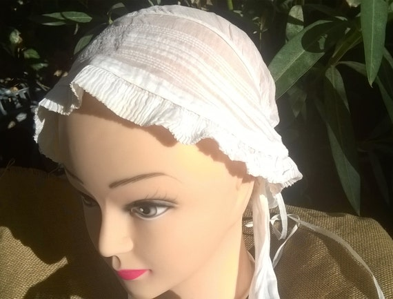 Bonnet Victorian White Veil  Bonnet Long Straps French Cotton Handmade Costume #sophieladydeparis