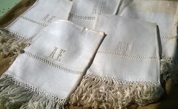 Damask Towel Unused White Victorian Silk Linen Fringed Open Work French Linen Silk Monogram Original Condition #sophieladydeparis