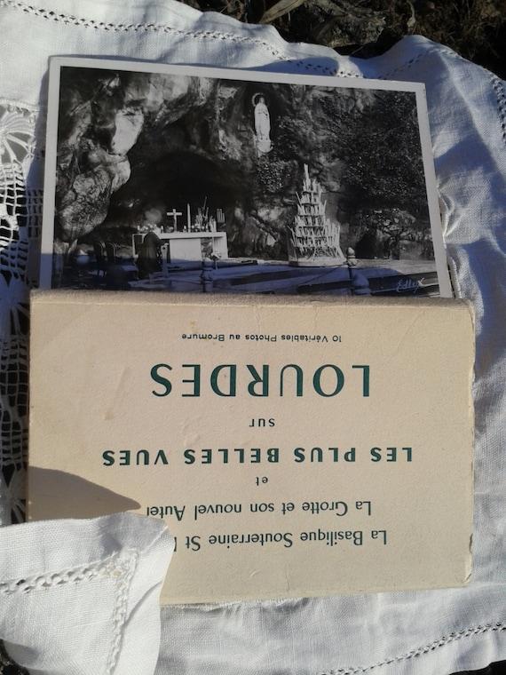 Lourdes 10 Photos Postcards 60's French Booklet Unused Black White Bromide Photos Lourdes Cave Ste Bernadette #sophieladydeparis