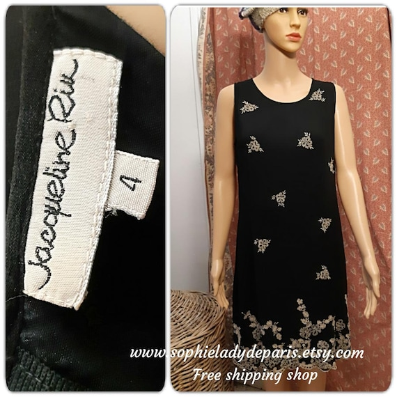 Vintage Black Crepe Dress Embroidered Jacqueline Riu French Designer Medium Large #sophieladydeparis