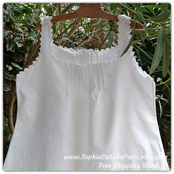 Victorian Dress Monogram Embroidered French Thick White Cotton Nightgown Large/XL #sophieladydeparis