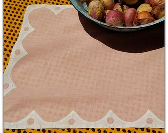 Antique 1930 Table Center French Handmade Pink Linen with White Applique Rectangle Doily   #sophieladydeparis