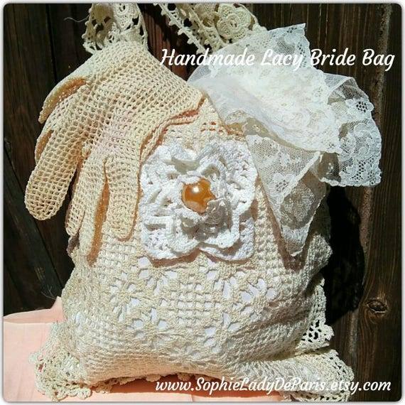Off White Lace Bag Handmade French Purse Hand Crocheted and Guipure Cotton Lace Wedding Accessory  #sophieladydeparis