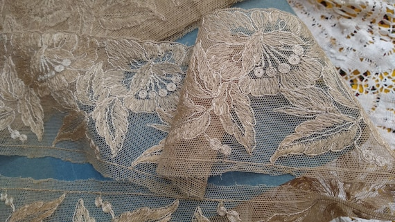 Rare Large Victorian Floral Needle Tulle Lace Embroidered French Beige Cotton Tulle Sold by The Yard #sophieladydeparis