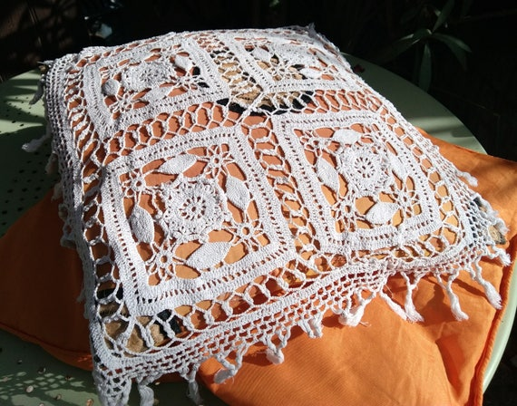 Pillow Lace Antique French Cover Fringed White Cotton Hand Crocheted   #sophieladydeparis