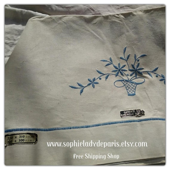 Vintage Flat Sheet Blue Seam French Cotton Flat Sheet Unused Blue Floral Basket Embroidered Tagged 2 persons bed sheet  #sophieladydeparis