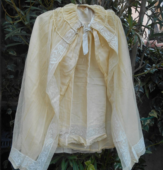 Tulle Christening Gown and Cape Victorian French Baby Set Yellow Color #sophieladydeparis