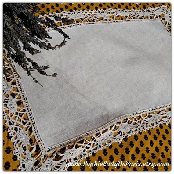 Crepe Doily White Antique Rectangle Linen Lace Trim #sophieladydeparis