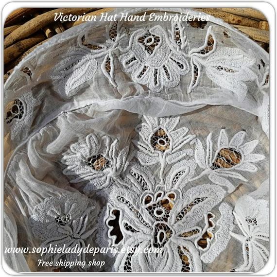 Delicate Victorian Hand Embroideries French Folk Hat Part White Cotton Museum Costumes Collectible #sophieladydeparis