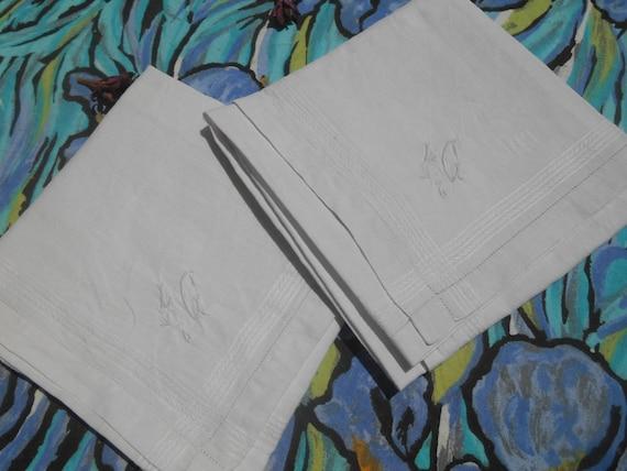 "2 Large Handkerchiefs Victorian White Linen Men's Tissues Bordered ""L C""  Monogrammed French Tissues Pocket Squares"