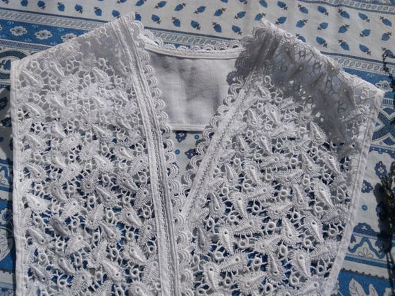 Lace Collar Antique Guipure White Cotton Lace Folk Bridal Collar Sewing Project #sophieladydeparis